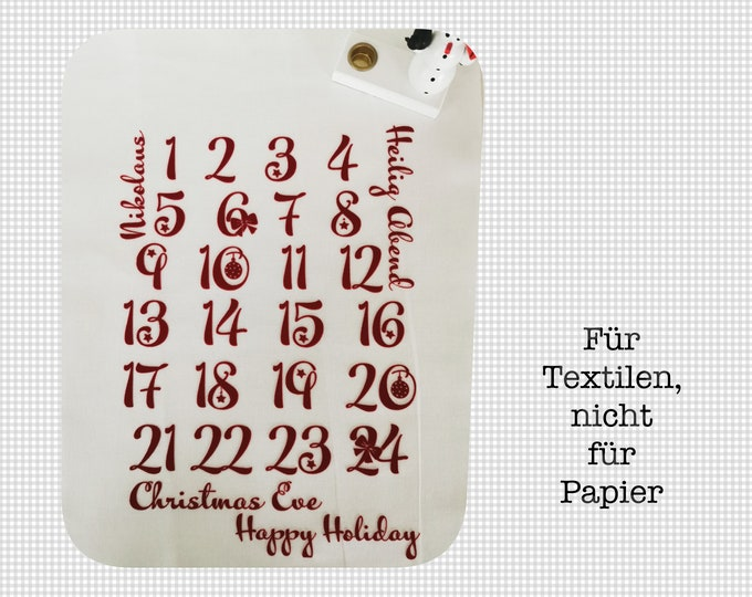 Numbers for the advent calendar for ironing approx. 3 cm high / floc foil / numbers / ironing picture with instructions / for fabric