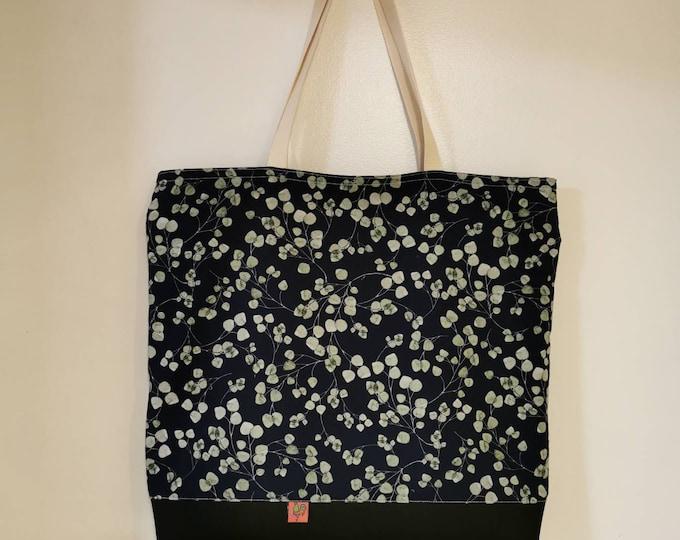 Shoulder bag / shoulder bag / bag / cloth bag / eucalyptus / dark blue / green leaves on blue / shopper / inner pocket with zip