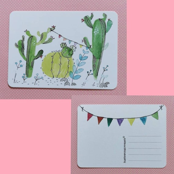 Postcard / Invitation Card / Card / Birthday / Invitation / Cactus / Watercolor