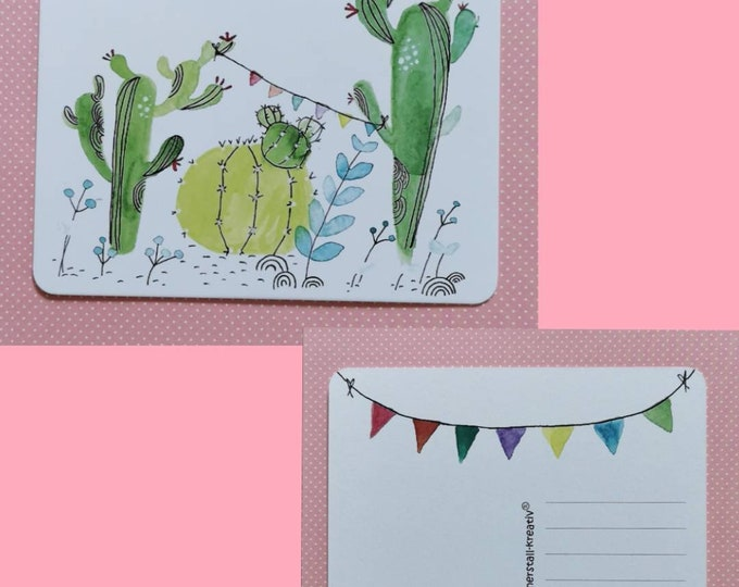 Postcard / Invitation Card / Card / Birthday / Invitation / Cactus / Watercolor