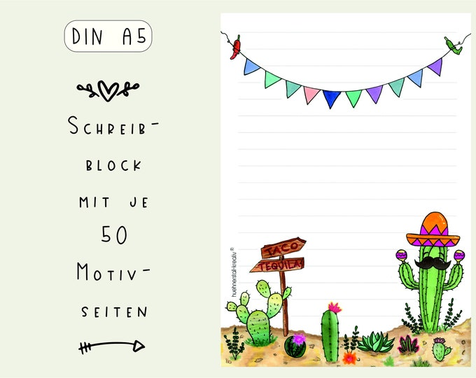 Notepad Din A5 / Mexico / America / Writing Pad / Illustration / Print / Lined / Stationery / Letter pad / 50 sheets / Slip of paper