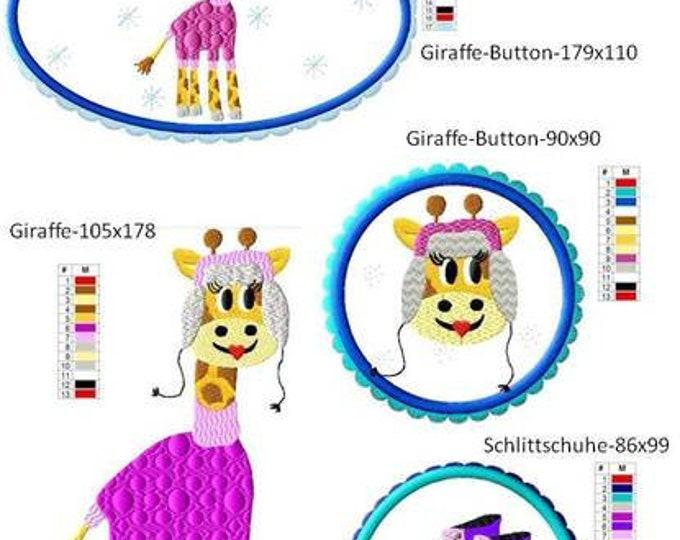 Embroidery file-Winter Giraffe 13x18