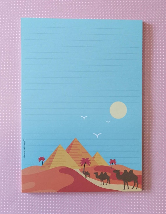 Notepad / Writing Pad / Shopping List / Din A5 / Drawing / Illustration / Print / Note / Lined / Stationery / Egypt