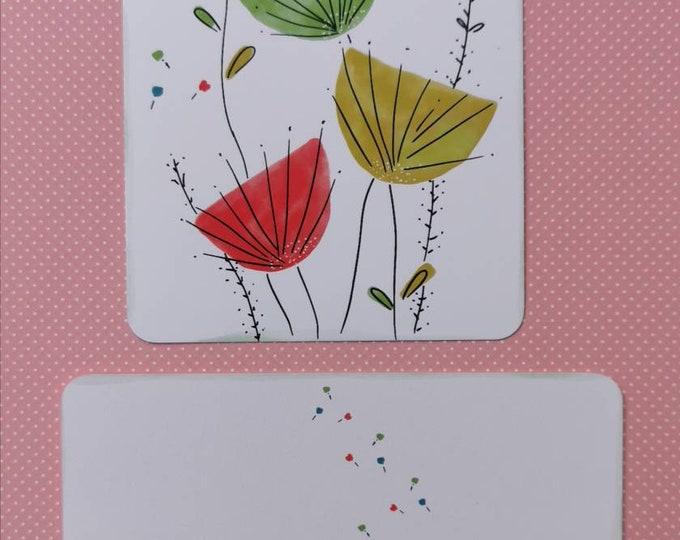 Postcard with Dandelion /Flowers / Illustration / Print / Watercolor /Unique