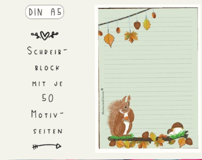 Notepad / Writing Pad / Shopping List / Din A5 / Drawing / Illustration / Print / Paper / Lined / Stationery / Squirrel