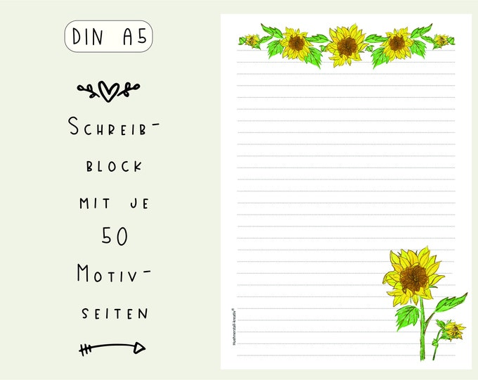 Notepad / Writing Pad / Shopping List / Din A5 / Drawing / Illustration / Print / Paper / Lined / Stationery / Sunflower