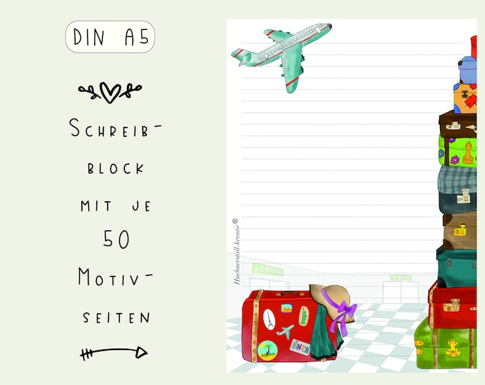 Notepad / Writing Pad / Shopping List / Din A5 / Drawing / Illustration / Print / Paper / Lined / Stationery / Travel / Suitcase
