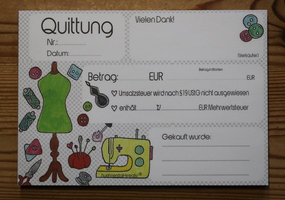 """Receipt block """"sewing"""" A6 also for small business owners transcription trim"""