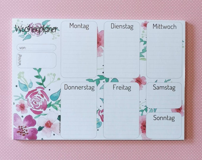 Notepad Din A5 / Weekly Planner / Writing Pad / Illustration / Print / Watercolor / Weekly Planner / Note / Calendar