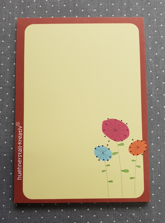 Notepad Din A6/Retro flowers/flowers/vintage/writing block/illustration/print