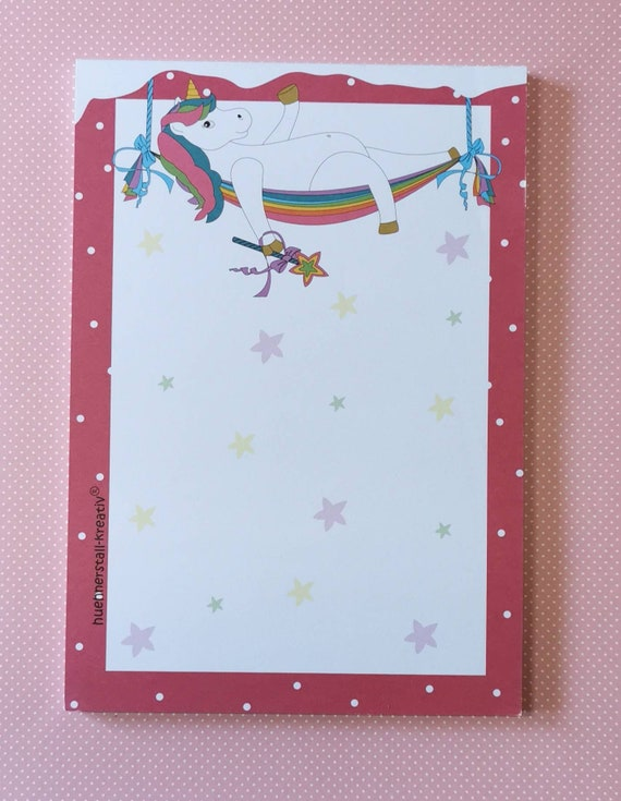 Notepad Din A5 / casual unicorn / unlined / writing pad / illustration / print /note / letter block