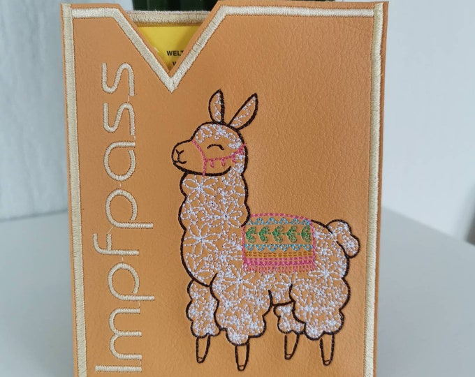 Vaccination passport cover made of artificial leather with embroidery / vaccination certificate / embroidered / vegan / lined with cotton (woaded goods) / llama