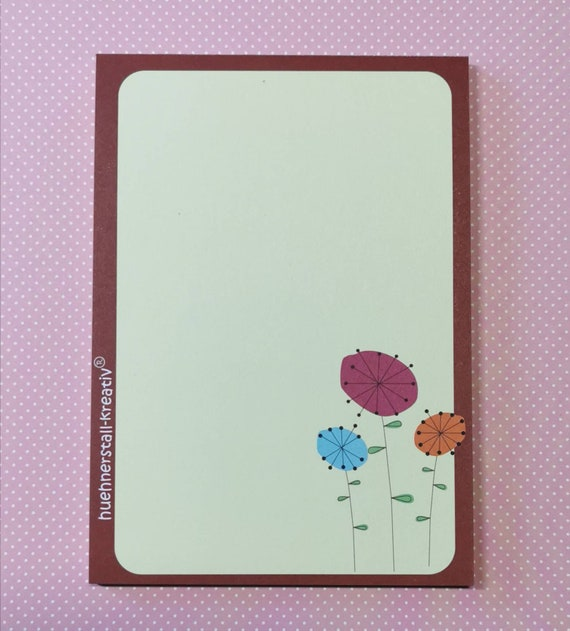 Notepad Din A6 / Retro Flowers / Flowers / Vintage / Writing Pad / Illustration / Print / Note / Unlined