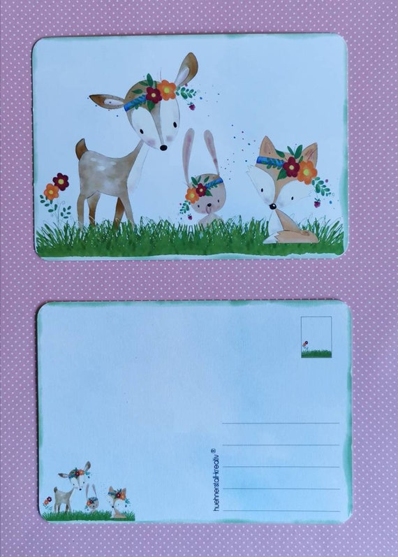 Postcard / Card / Birthday / Gift / Invitation / Watercolor / Drawing / Forest Animals / Deer / Fox / Bunny