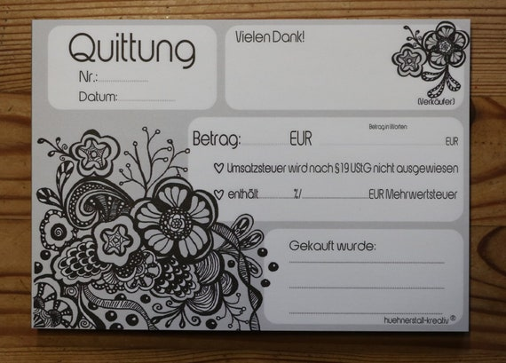 "Receipt block ""Flowers"" A6-also for small business owners-with a breakthrough (transcription)"