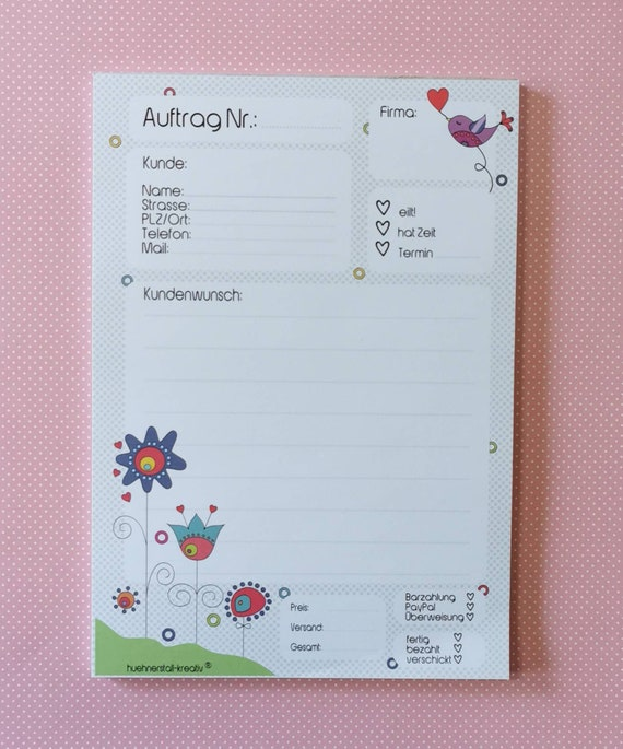 Notepad / Writing Pad / Order Din A5 / Illustration / Print / Order Block / Letter Block / Note