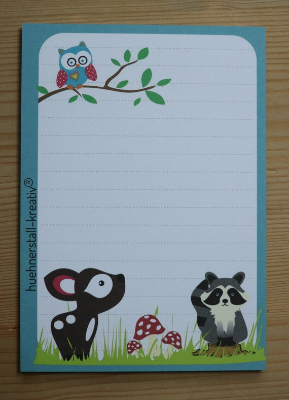Notepad Din A6/Forest Animals/Animals/Illustration/Print