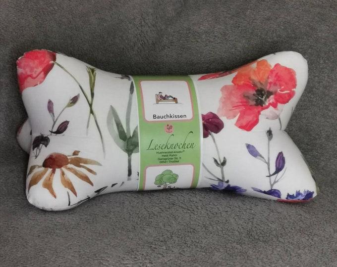 Reading Bones / Reading Pillow / Pillow / Side Sleeper / Relaxation / Backrest / Reading / Neck Pillow / Flowers / Poppy / Meadow / Spring