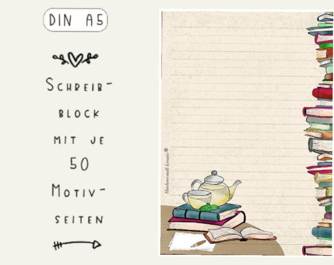 Notepad / Writing Pad / Shopping List / Din A5 / Drawing / Illustration / Print / Slip / Lined / Stationery / Book Love