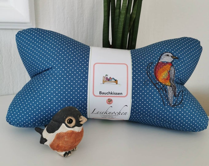 Reading bone / reading pillow / relax pillow / relaxation / backrest / reading / neck pillow / hygge / robin / embroidery / embroidered