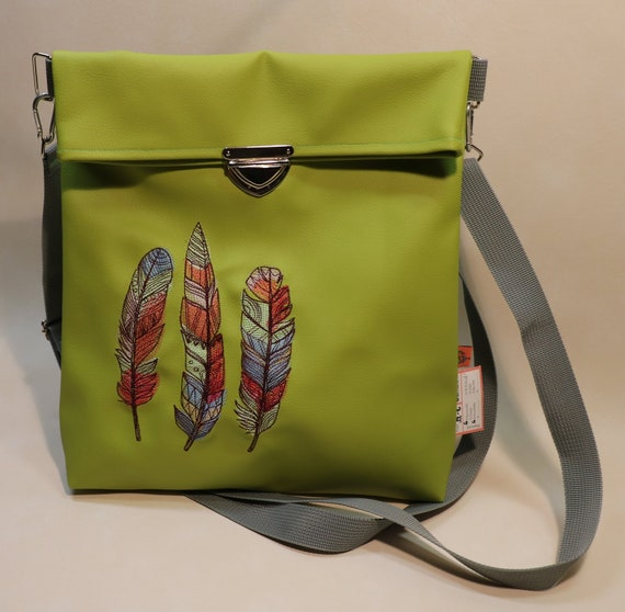 Shoulder bag-shoulder bag-faux leather handbag-one-of-a-kind embroidered with embroidery-embroidered bag for staplers in Din A4