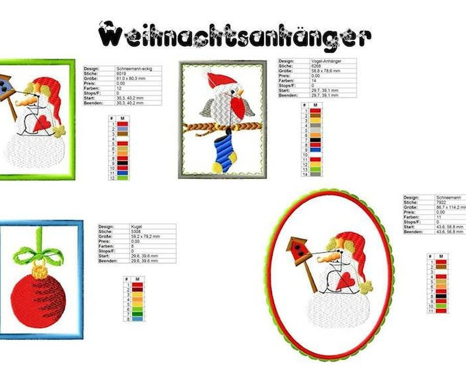 Embroidery file gift tags and christmas cards