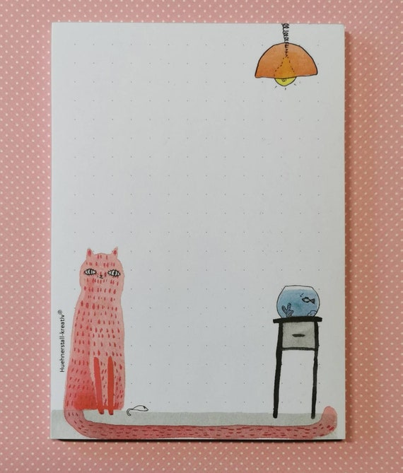Notepad Din A6 / Cat / Writing Pad / Illustration / Print / Note / Dotted / Watercolor