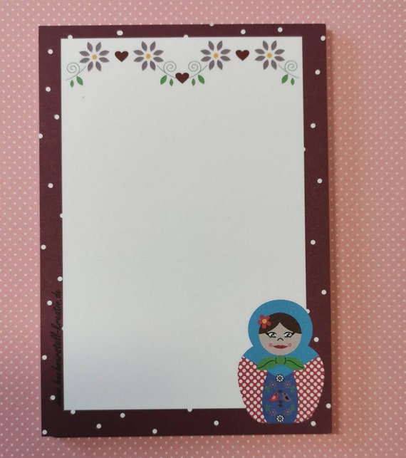 Notepad Din A6 / Matryoshka / Russia / Writing Pad / Illustration / Print / Note / Unlined
