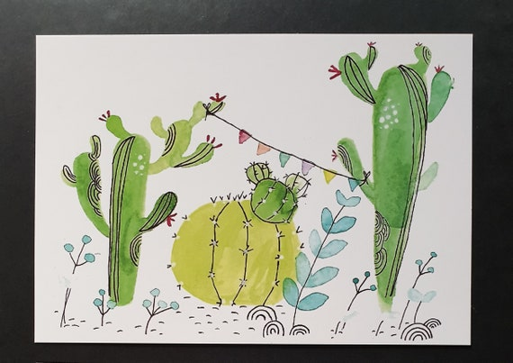 Postcard/invitation card/invitation/cactus