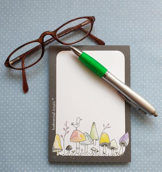 Notepad Din A6/Mushroom/Fly Mushroom/Mushroom/Illustration/Print