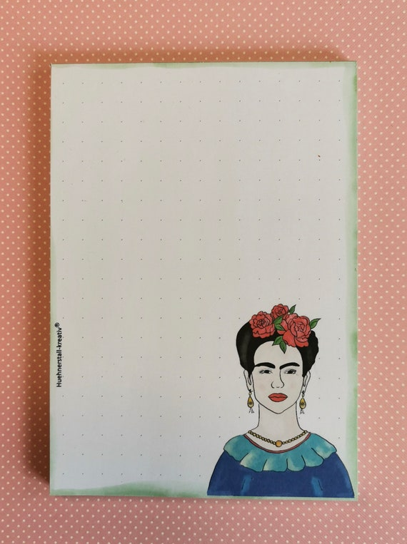Notepad A6 / Kahlo / dotted / writing pad / illustration / print / watercolor /zettel / Frida