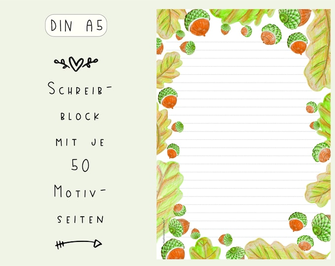 Notepad / Writing Pad / Shopping List / Din A5 / Drawing / Illustration / Print / Note / Lined / Stationery / Autumn / Acorns