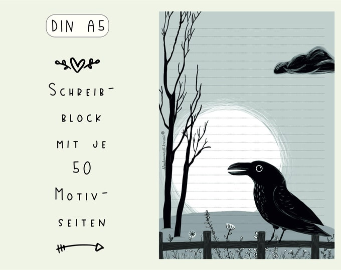 Notepad / Writing Pad / Shopping List / Din A5 / Drawing / Black and White / Print / Paper / Lined / Stationery / Jackdaw / Raven