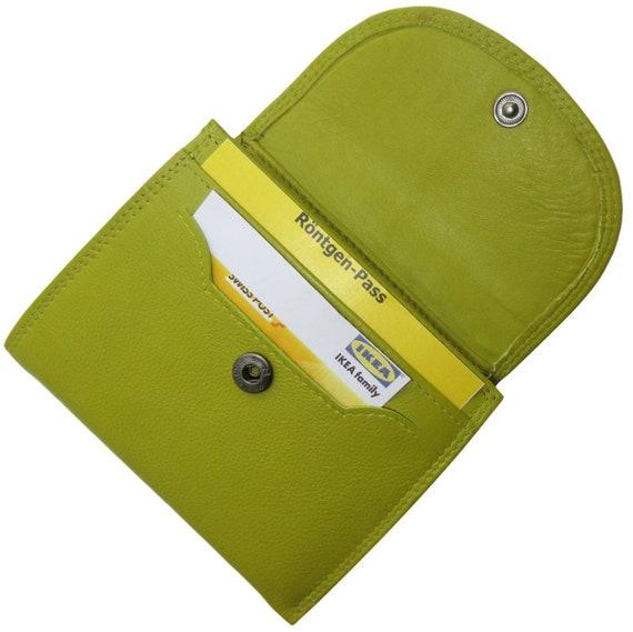 Geldbeutel Portemonnaie Grün Damen Leder Geldbörse 2 Münzfächer  CLUB Limone