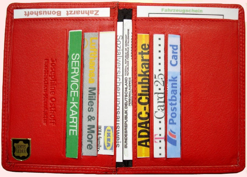 Ec Cards Id Case Leather Red Card Holder Card Case Wallet Etsy