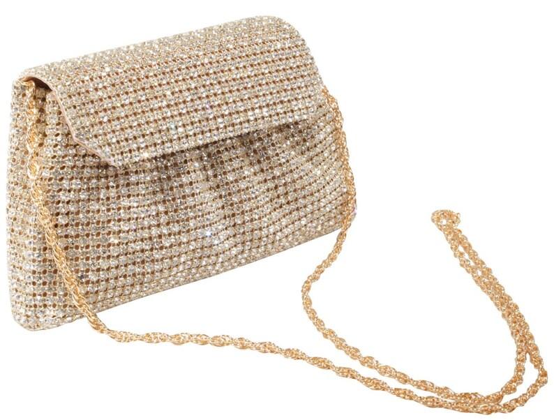d263283b7209a LUXUS Clutch gold Tasche mit Swarovski Steinen Abendtasche