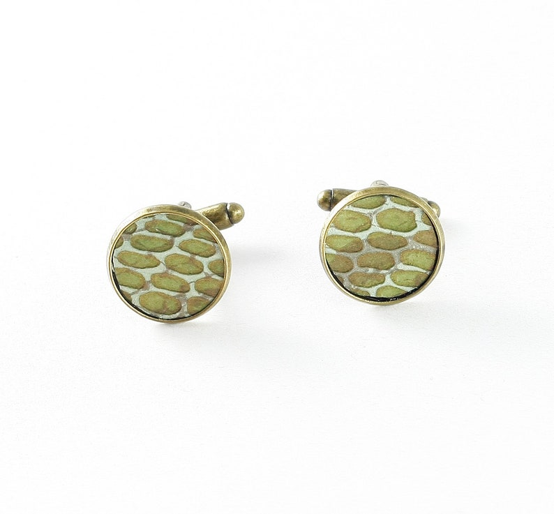Cufflinks with leather snakeskin in green in bronze color