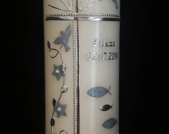 Baptismal candle pure white 23 x 7 cm Fish cross light blue marauded silver simply noble