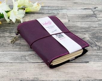 Travelers Journal A5-A7, blackberry, vegan leather(OilSkin)
