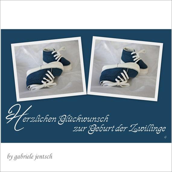 Karte Geburt Taufe Geburtskarte Zwillinge Mädchen Junge Gaby Glückwünschkarte Glückwünsche
