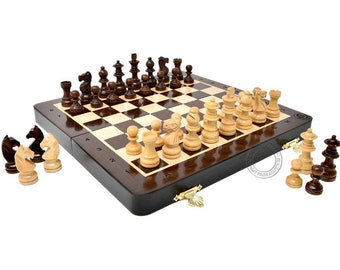 """10"""" Wooden Magnetic Folding Travel Chess Set / Board with 2 Extra Knights, 2 Extra Pawns, 2 Extra Queens and Algebraic Notation - Handmade"""
