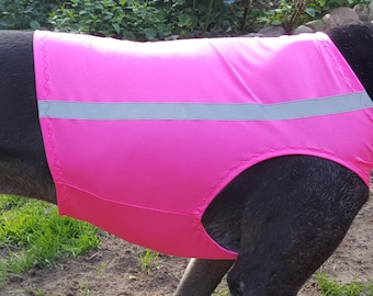 Greyhound vest pink, greyhound warning vest, greyhound racing vest, 5 sizes, on request with stick on a reflector strip