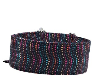 Train stop collar black with colorful dots in waves, greyhound collar Colorful Waves, 3 different widths