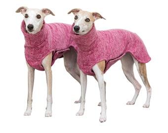 Whippet Sweater Polar Fleece with closure in 3 colors, red-melange, blue-melange, gray-melange, 3 sizes
