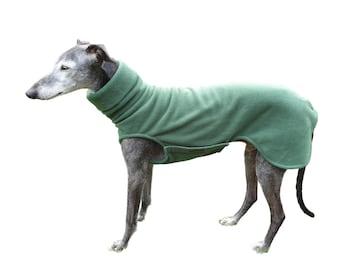 Greyhound Sweater Polarfleece with a Clasp, Greyhound Sweater, Dark Green, 5 Sizes