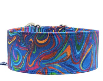 Blue-colored train stop collar, greyhound collar Poppy, 3 different widths