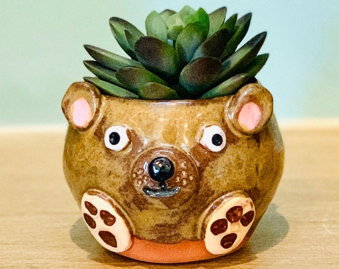 Terracotta Clay Baby Bear Ceramic or Pottery Animal Bowl for Succulents, Change, Food, Candles, Trinkets or Jewelry