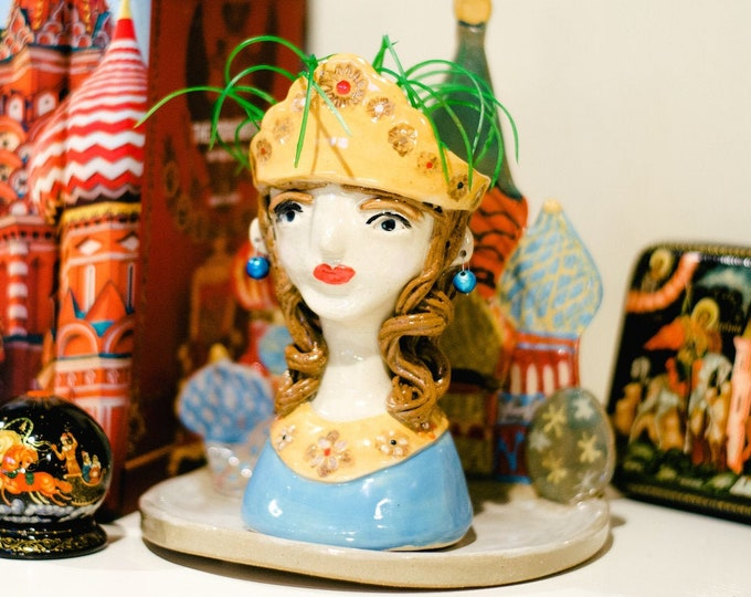Tatiana and St. Basil's Face, Head or Succulent Planter, One of a kind Handmade Ceramic or Pottery