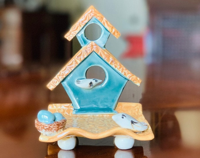 Rainforest Blue Colored Bird House Tray in Ceramic or Pottery for Decoration, Change, Tea Bags, Candles, Rings or Business Card Holder