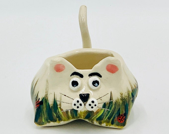 Handpainted  Cat Ceramic or Pottery Animal Bowl for Succulents, Change, Food, Candles, Trinkets or Jewelry in White Clay